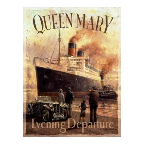 Original Metal Sign Co. Kevin Walsh Queen Mary Evening Departure Metal Wall Sign