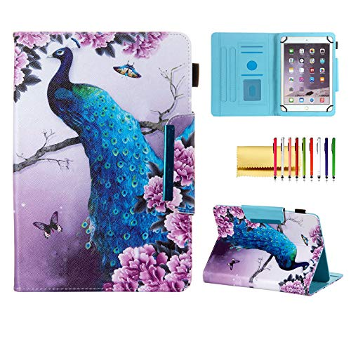 Universal Case for 8 Inch Tablet, Techcircle Light Stand Folio Magnetic Cover Case for Asus ZenPad 8 Z8s, LG G Pad X 2 3 4 F 8.0 8.3, iPad Mini, Fire HD 8 & Most 8.0 Tablet Computers, Peafowl Blossom