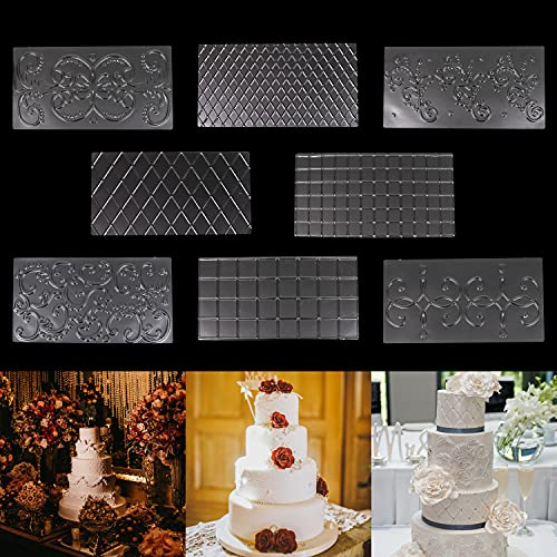 Belle Vous Moldes para Fondant de Plástico (Pack de 8) Set Grabado Glaseado Tarta Chocolate – Diseño Floral, de Damasco y Cuadricula Moldes Reposteria 3D Azúcar, Chuches, Decoración, Gelatina, Hornear