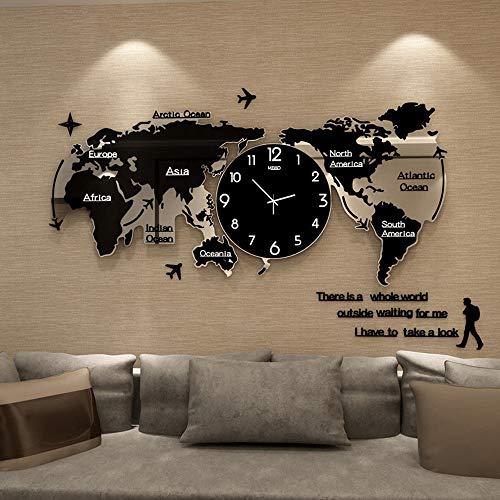 FCX-CLOCKUHR Weltkarte Uhr Wand Wanduhr Modern Wohnzimmer Große Wanduhren Wanduhr 3D Acryl Stille WeltkarteKreative Wanduhr Groß L74CM * H34CM (Farbe : Schwarz)