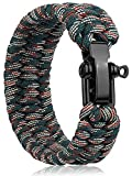 Oadnfa Survival Bracelet,Tactical Paracord Bracelet with Forged Stainless Steel U-Type Shackle Connection Three-Holes Adjustable,Bearable 550 lb Disassembled Parachute Rope for Emergency,Pair with Adventurers (Camo Green)