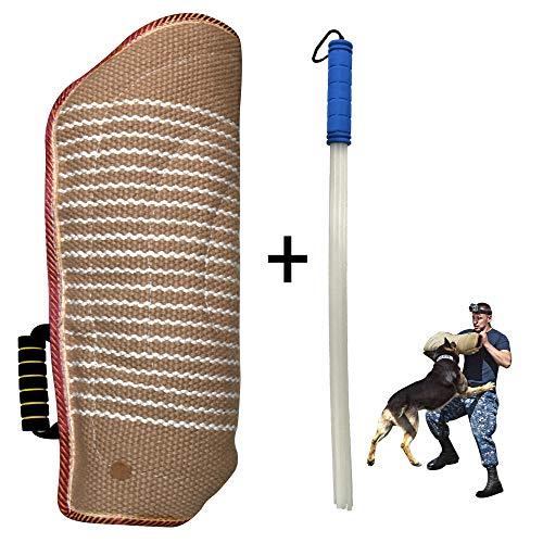 MelkTemn hondentrainingsuitrusting beschermhoes van jute met 1 stick voor training, sport en spel, armbescherming hondentraining voor linker en rechter arm, handgemaakt, 30 cm lang