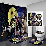 Nightmare Before Christmas 4 Piece Shower Curtain Set with Non-Slip Rug Toilet Lid Cover Bath Mat and 12 Hooks Waterproof for Bathroom