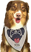 Dog Bandana Pug Caricature of a Dog Having Bath Bubbles Colorful Flower Funny Animal Scarf for Small and Medium Dogs and Cats