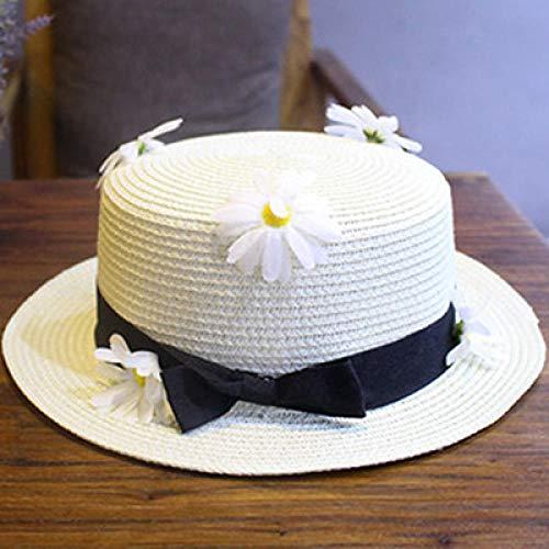 Sombreros De Paja Gorra De Mujer Sombrero De Paja Superior Plano Gorras De Viaje para Mujer Ocio Pearl Beach Sombreros para El Sol Negro Transpirable Flor De Moda Hat-White_3_56-58Cm