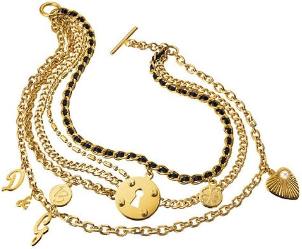 Dolce & gabbana collana multifili in acciaio dorato con vari pendenti DJ0507