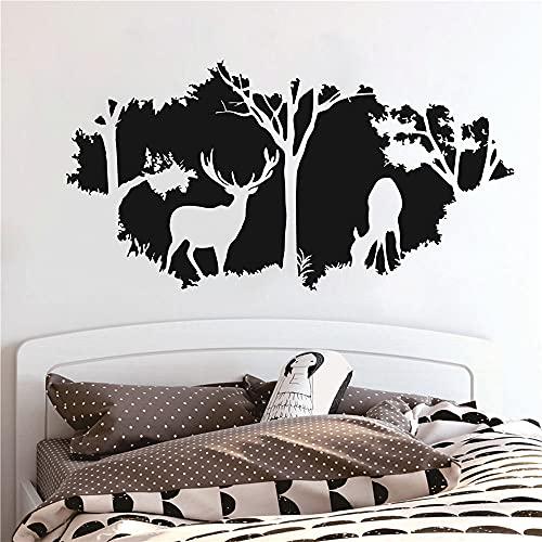 Vinilo adhesivo para pared con diseño de animales del bosque y ciervos salvajes para niños, sala de caza, selva, para dormitorio, sala de estar, decoración de casa, mural TM-46 (negro)