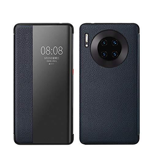 XYAL0002003 Voor Huawei Mate 30 Pro, Echt Leer Flip Open Raam Automatische Slaap wakker Smart Cover Case Shell Compatibel met Huawei Mate 30 Pro, Xingyue Aile Cases & Covers, Donkerblauw