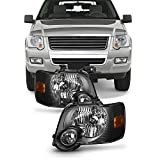 For Black Bezel 06-10 Ford Explorer/Sport Trac Headlights Front Lamps Direct Replacement Left + Right