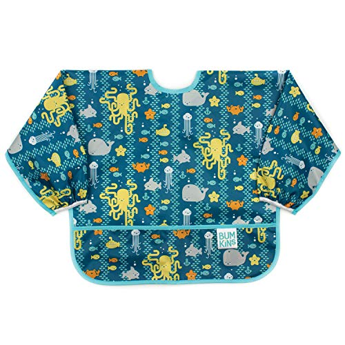 Bumkins  Sleeved Bib / Baby Bib / Toddler Bib / Smock Waterproof Washable Stain and Odor Resistant 624 Months   Sea Friends