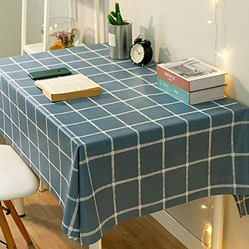 Yinaa Mantel para de Cocina Salón Rectangular PVC Simple Impermeable Lavable Diseño de Comedor decoración del Hogar Azul Oscuro 120 × 170cm