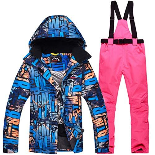 HUXIZ Skianzug Die Frauen wasserdichte Ski-Jacke und Hose Set for Regen-Schnee-Winter-Kleidung (Farbe : 04, Size : XL)