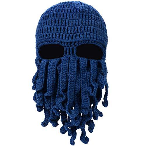 Petrunup Grappige Octopus Tentakel Baard Bivakmuts Ski Masker Winter Gebreide Beanie Mutsen