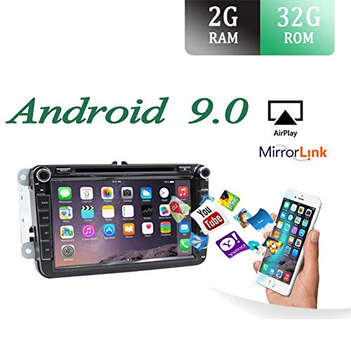 Android 9.0 Autoradio 2 Din Car Stereo Compatible para Volkswagen VW SEAT SKODA POLO PASSAT TIGUAN GOLF Fabia Coche Navegacion GPS BT DAB | 8 pulgadas 2G+32G Octa Core | LIBRE Cámara trasera & Canbus