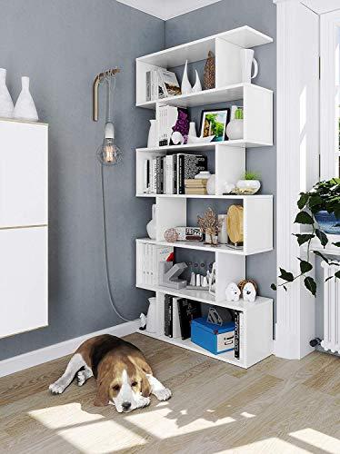 Libreria Friburgo in Legno Design Moderno Scaffale Scaffalatura Mensola Bianca Mobile per Libri con Ripiani per Soggiorno Salotto Studio Ufficio 192 x 80 x 25 cm Colore...