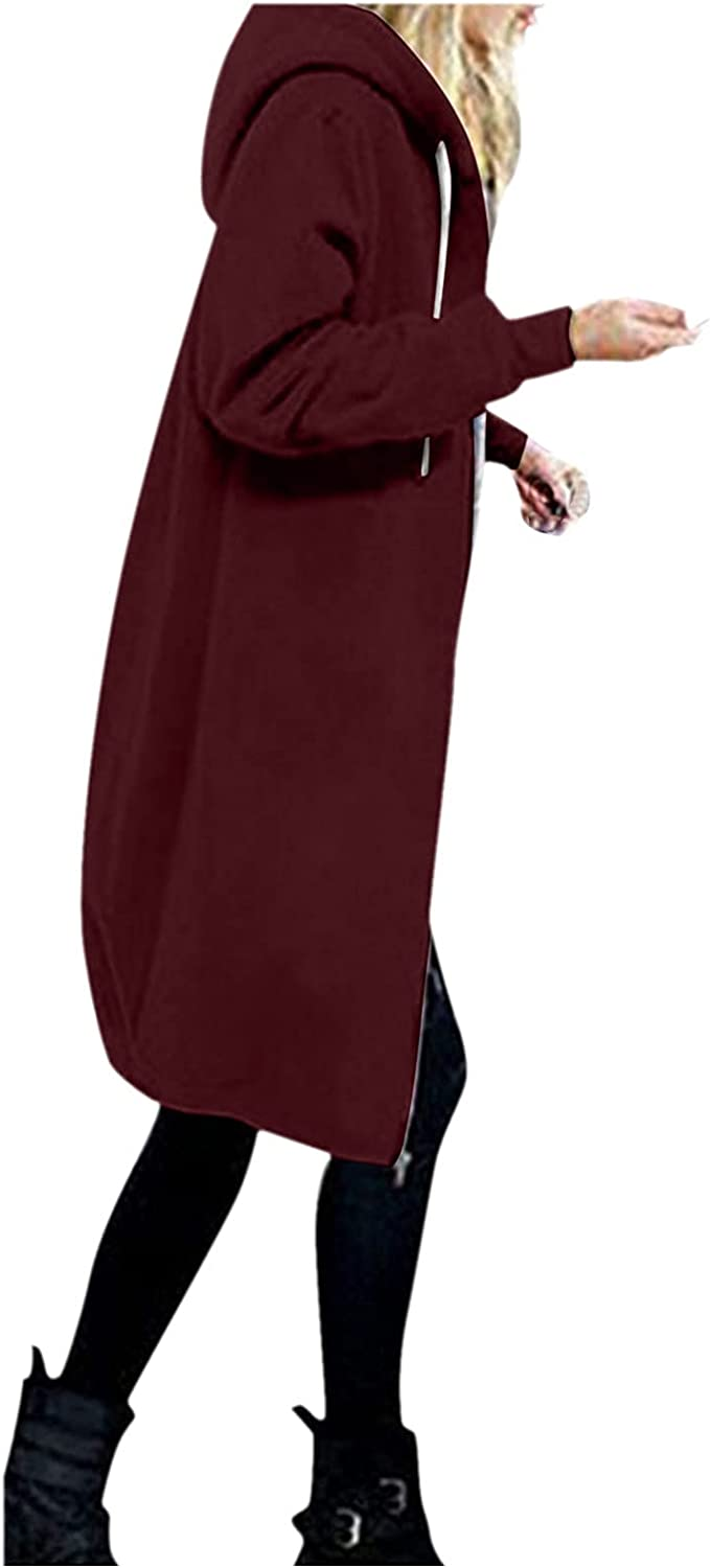 Women's Zip up Long Tunic Sweatshirt Solid Color Plus Size Hoodie Cardigan Ladies Casual Jacket with Pockets