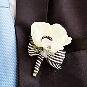 Artificial and Dried Flower Party Prom Wedding Flowers Wedding Boutonniere Branches Mix Colors Corsage Pin Groom Anemone Groomsman Christmas Rose