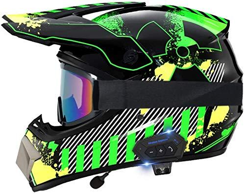 Feeyond Motorcycle Bluetooth Helmet, Motocross Helmet Offroad Helmet Dirt Bike Racing ATV Motorcycle Helmet, DOT Certified Helmet, with Gloves Goggles Mask,D,L