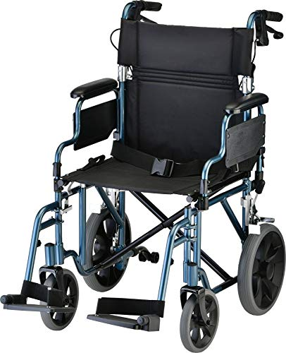 "NOVA Medical Products Lightweight Transport Chair with Locking Hand Brakes, 2"" Rear Wheels, Removable & Flip Up Arms for Easy Transfer, Anti-Tippers Included, Blue, 1 Count"