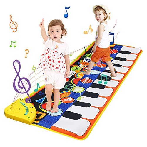 LinStyle Tappeto Musicale Bambini, 5 Modalit¡§¡è & 8 Suoni Piano Tastiera Danza Stuoia Strumento Musicale, Giocattoli Bambino 3 anni, Bambini Educativo Giocattolo Perfetto Regalo per Bambini 100x36cm