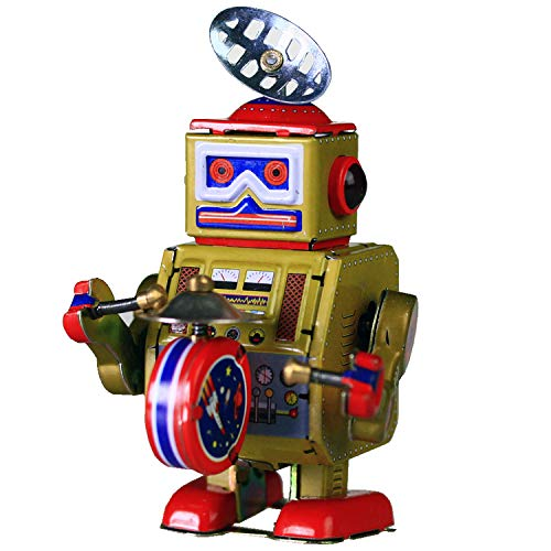 HwaStudio MS409 Oro Robot Batterista Tin Toy Wind Up Vintage Riproduzione
