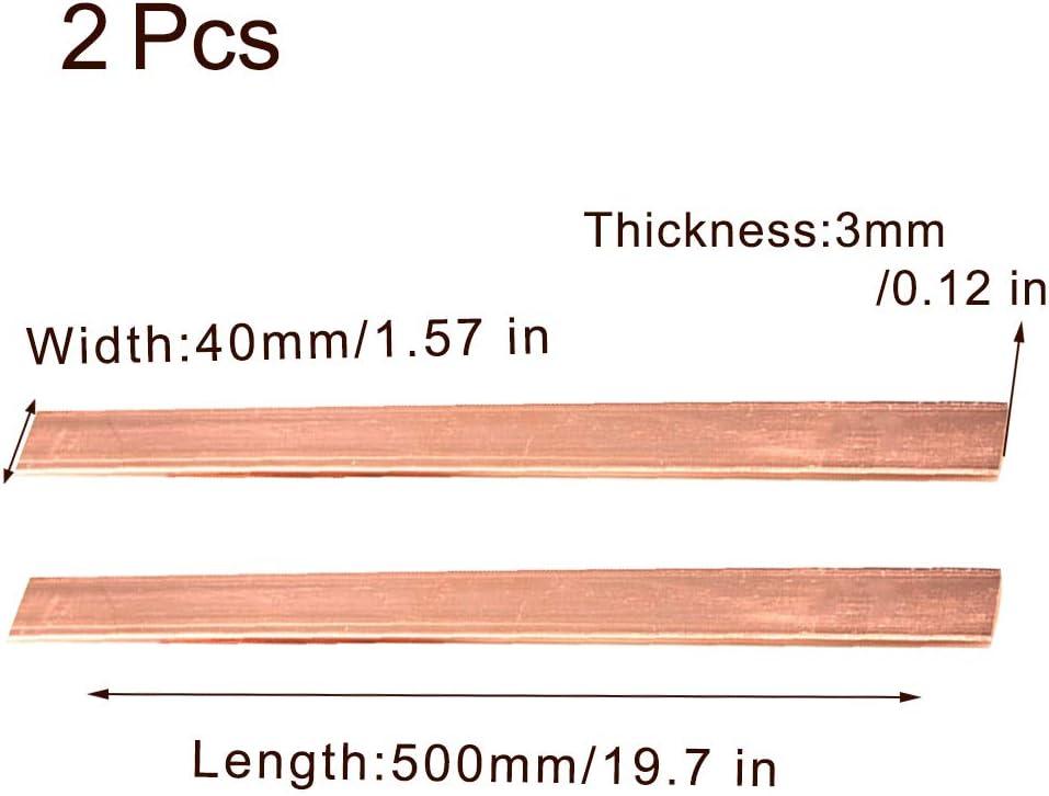 Length:500mm,3mm x 20mm x 500mm Zewoi 2 Pcs Copper Row T2 Pure Cu Bar Sheet Block DIY Conductive Industry