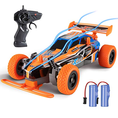 Remote Control Car, SPESXFUN 2.4 GHZ High Speed RC Racing Car, Fast Electric Toy RC Car for Boys & Girls with Two Rechargeable Batteries, Best Christmas Birthday Gift Toy Car for 4-12 Age Kids(Orange)