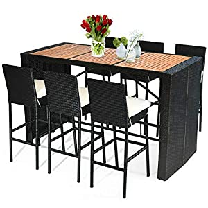 Tangkula 7 PCS Outdoor Dining Set, Patio Wicker Furniture Set with Acacia Wood Table Top and Removable Cushion, Conversation Set for Patios, Backyards, Porches, Gardens and Poolside (Black)