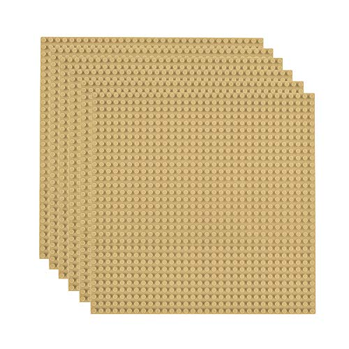 Lekebaby Classic Baseplates Building Base for Building Bricks 100% Compatible with Major Brands-Baseplate 10  x 10 , Pack of 6 (Sand Color)