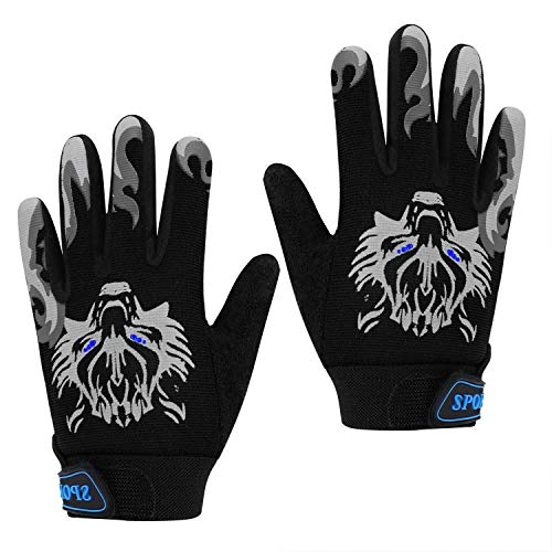 Kid's Cycling Gloves Non-skid Full Fingers Gloves for Kids 5-10 Years Old Boys Girls Warm Sports Mitten Gloves for Cycling Skiing Running Biking (black)