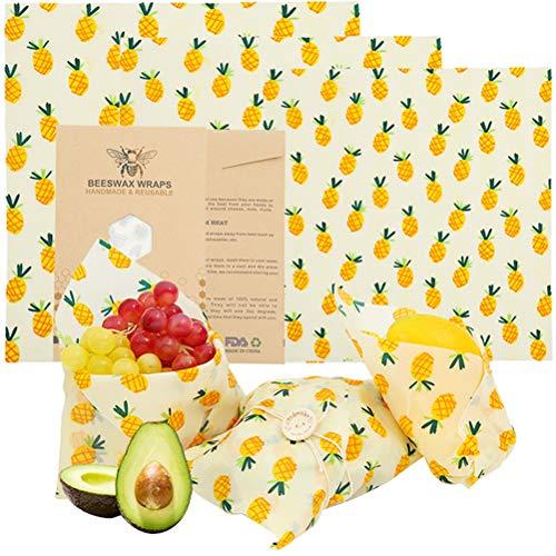 lllteri Beeswax Warp waxpapier, herbruikbare bijenwasdoek, waspapier, gezond milieuvriendelijk, voor kaas, fruit, fruit, fruit, organisch food wrap, 1 set