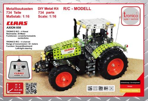 RC Auto kaufen Traktor Bild 4: Tronico 10058 - Metallbaukasten Traktor Claas Axion 850 mit Fernsteuerung, Profi Serie, Maßstab 1:16, 734-teilig, grün*