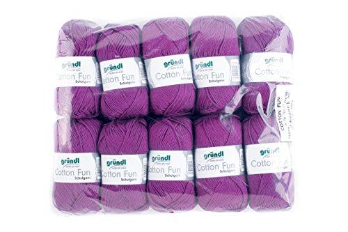 Gründl Cotton Fun Wolle, Baumwolle, Purpur, 27 x 11 x 7 cm