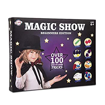 Playkidz Magic Show for Kids - Deluxe Set with Over 100 Tricks Made Simple Magician Pretend Play Set with Wand & More Magic Tricks - Easy to Learn Instruction Manual - Best Gift for Beginners