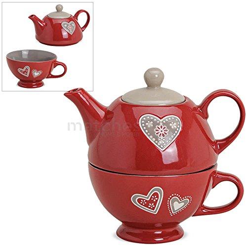 matches21 Tea For One 2-tlg. Teekannen-Set Landhaus & Herzen Keramik Geschenkset 400 ml