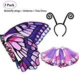Rainbow Kids Butterfly Wings Costume for Girls, Butterfly Dress Up Wings with Mask Tutu Masquerade Role Play Party (Purple-Pink)