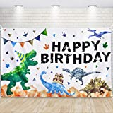 Fondo de Cumpleaños de Dinosaurios - Decoración para Fiestas de Dinosaurios para Niños 185 x 110cm Fotografía al Aire Libre Suministros para Fiestas de Cumpleaños Bandera de la Pared Decoración