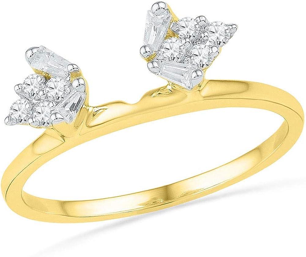 14kt Yellow Gold Womens Baguette Diamond Ring Guard Wrap Solitaire Enhancer 1/4 Cttw