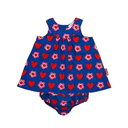 Toby Tiger - Robe Bébé fille Heart Flower Baby Dress & Pants Set - Bleu (Navy Blue) - 6 mois