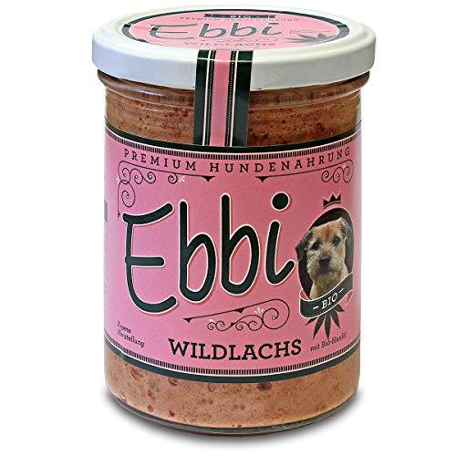 Wuff & Mau Wildlachs mit Bio- Hanföl 2X 400g Glas (insg. 800g) Ebbi Hundefutter mit Wildlachs, Hähnchenmägen, Reis, Fenchel, Brokkoli
