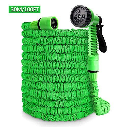 Ohuhu Flexibler Gartenschlauch, 30m/100ft Ausziehbarer Schlauch mit 8-Phasen-Düse, Flexibler Gartenschlauch ausgedehnt, Wasserschlauch Flexibel für Gartenbewässerung Autowäsche - Grün