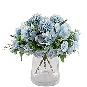 DECPRO Artificial Flowers Silk Hydrangea Fake Rose Chrysanthemum Ball Bouquet Flowers for Wedding Bouquet Centerpieces Flower Arrangements Decorations