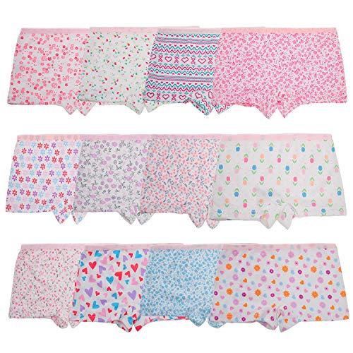 Anntry Enfants 12 Pièces Doux Culotte Confortable sous-vêtements Petites Filles Assorties Coton Culotte De Boyshort 2-12 Ans (8-10 Ans, Style-1)