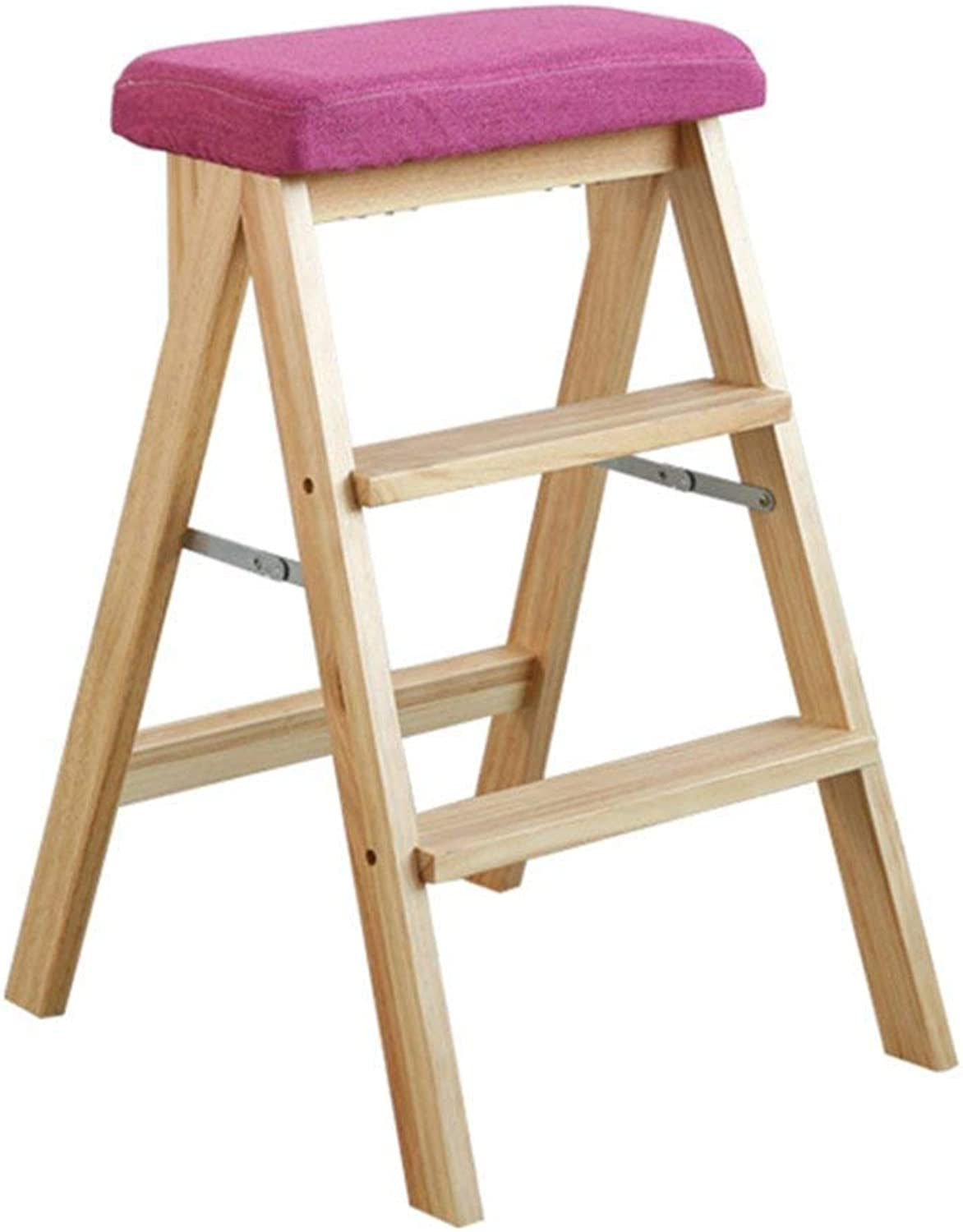 D-Z Chair Stool Portable Stool Kitchen Foot Stool Step Stool Folding Ladder Chair Solid Wood Folding Step Stool, Stool 2, a