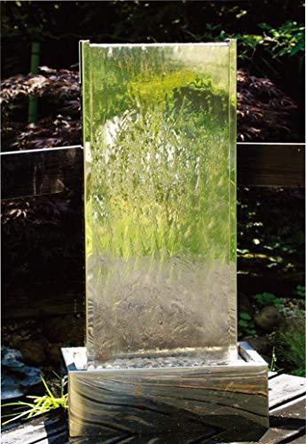 Köhko Springbrunnen Muro I Höhe ca. 175 cm mit LED-Beleuchtung aus Edelstahl Wasserwand Wasserspiel für Garten Terrasse