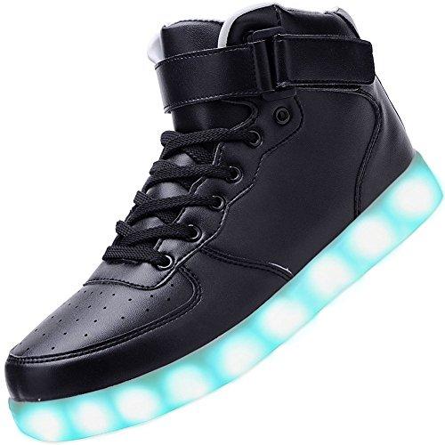 PADGENE, sneaker alte, unisex, con luci a LED lampeggianti di 7 colori diversi, caricamento con presa USB, Nero (Black), 40
