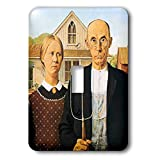 1-Gang Wall Plate Cover Decorator Wall Switch Light Plate Double Receptacle Outlet American Gothic By Grant Wood Classic Beadboard Unbreakable Faceplate