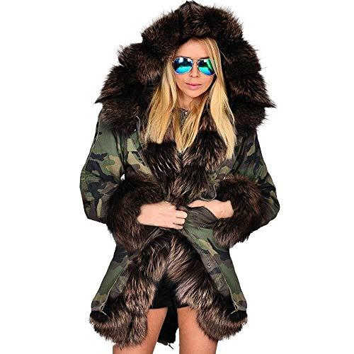 Damesmantel dames kunstbont winterjas parka met capuchon mantel visstaart lange mouwen modieuze completi mantel met capuchon legergroen katoen jas pluizige jas