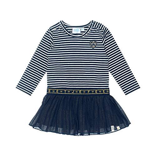 Feetje Robe à manches longues rayée plissée robe bébé, marine/blanc