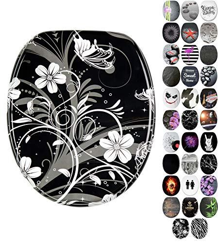 WC Sitz mit Absenkautomatik, viele schöne schwarze WC Sitze zur Auswahl, hochwertige und stabile Qualität aus Holz (White Flower)